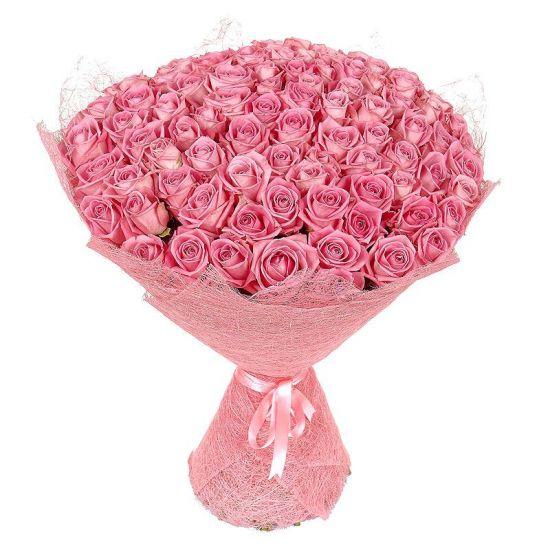 Букет з 101 рожевої троянди