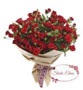 Букет из красной кустовой розы — Огонек