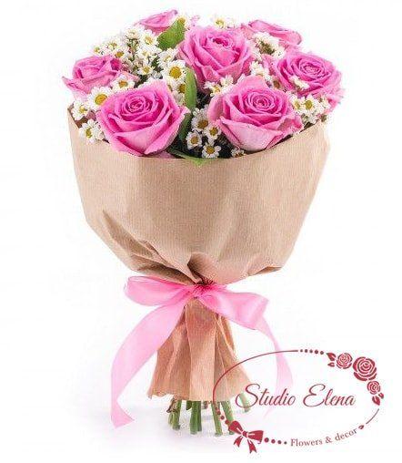Рожеві троянди 60 см - Роузі