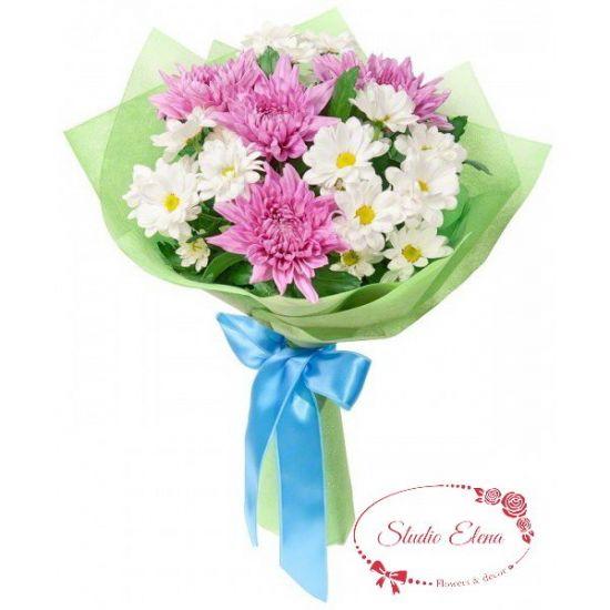 Букет хризантем разного вида — Амелия