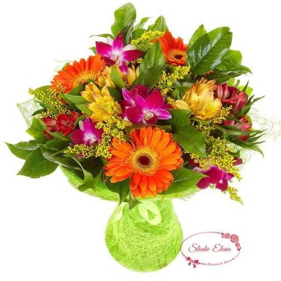 Яскравий мікс з гербер та інших квітів - Арента