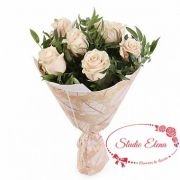 7 кремовых роз в букете — Афина