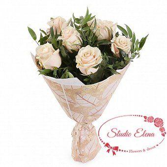 7 кремових троянд в букеті - Афіна