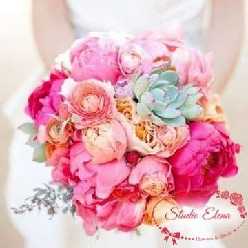 Рожевий весільний букет з піонів і троянд - Анабель