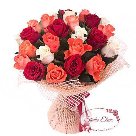 25 роз в букете — Утренняя роса