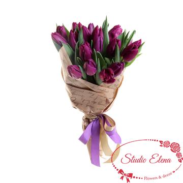 Букет из 19 сиреневых тюльпанов — Прованс