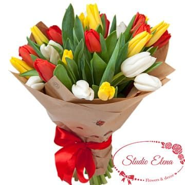 23 разноцветных голландских тюльпанов — Карамелька