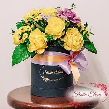 Желтые цветы в шляпной коробке — Пандора