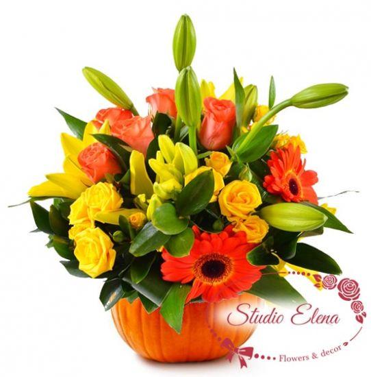Букет квітів в гарбузі - Пампі