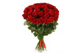 Букет из 35 ярких роз Фридом — Страсть