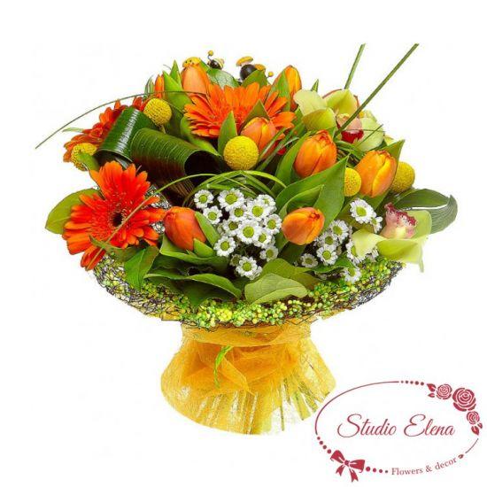Букет цветов — Оранжевое солнце