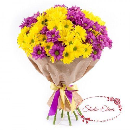 Букет хризантем — Поздравляю