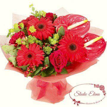 Букет з гербер, троянд і антуриумов - Фламінго