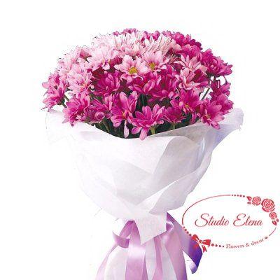Букет з яскравих хризантем - Фріда
