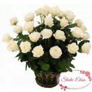 Белые розы в корзине — Раннее утро