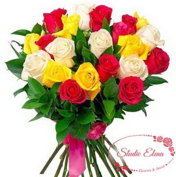 Большой букет красивых роз — Разговор цветов
