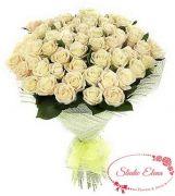 Букет из 45 бело-кремовых роз — Сливки