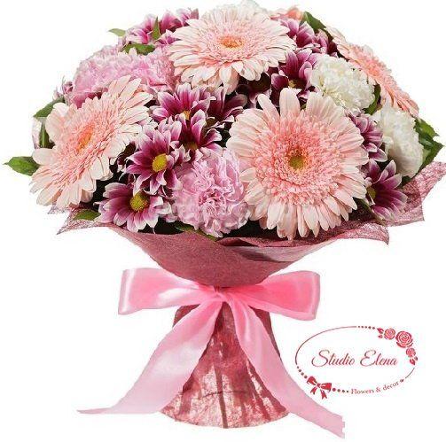 Букет квітів в рожевих тонах - Амбре