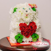 Букет - Іграшка ведмедик з серцем