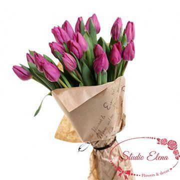 Букет из голанских тюльпанов — Индиго