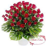 55 красных роз в корзине — Взаимность