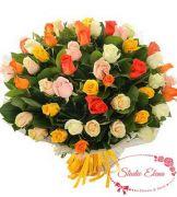 Яркие разноцветные розы — Золотое время